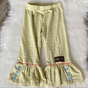 Matilda Jane Green & White Ruffle Pants Size 4